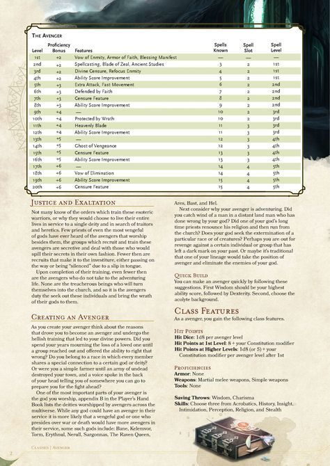 DnD 5e Homebrew — Avenger Class by Fenrir-Hati-Skoll | DnD homebrew