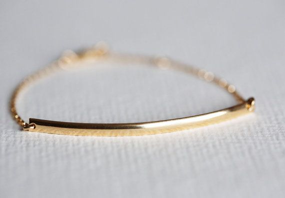 Large Gold Bar Bracelet, Gold Filled Bar Bracelet from MinimalVS by DaWanda.com