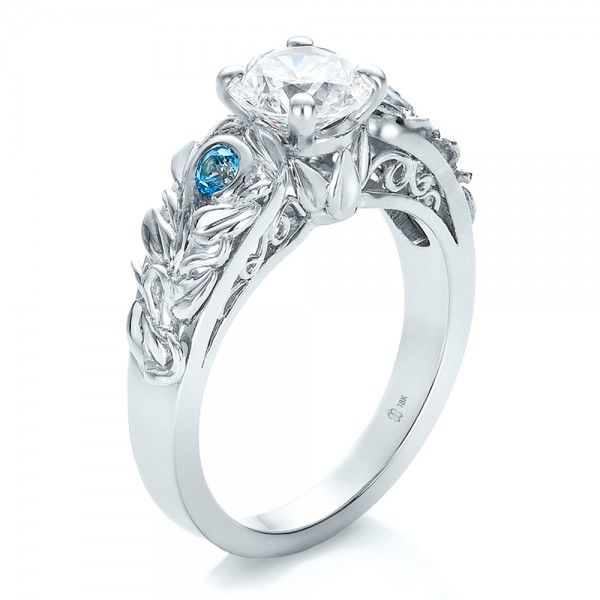 Engagement Rings-Custom Organic Diamond and Blue Topaz Engagement Ring