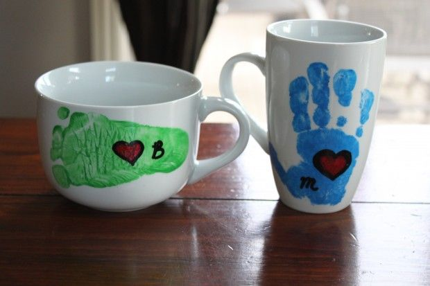 It will be Father's Day year round when Dad wakes up to these hand or foot print mugs