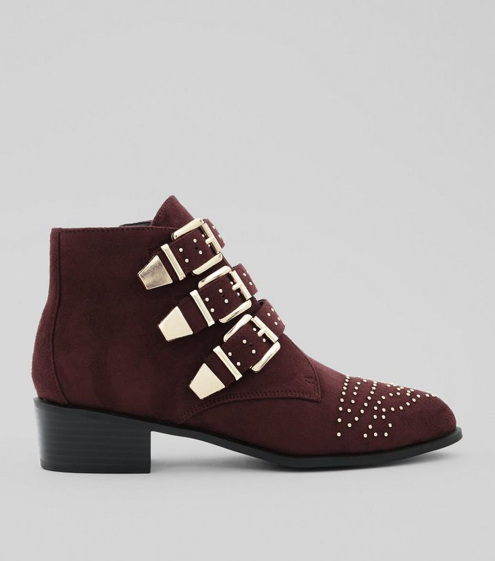 Wide Fit Burgundy Suedette Stud Buckle Ankle Boots | New Look