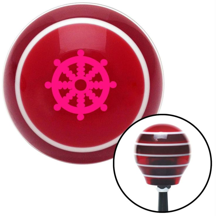 Pink Wheel of Dharma Red Stripe Shift Knob with M16 x 15 Insert