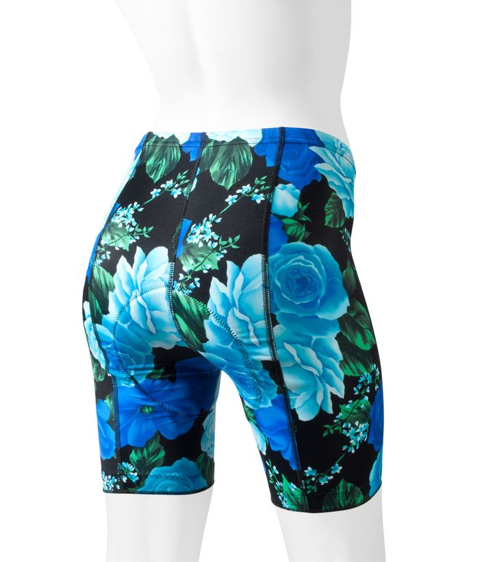 Womens Print Blue Roses Padded Cycling Shorts floral print.  Crazy printed bicycle shorts will show off your style.  Our comfortable thin pro pad will keep you comfortable.