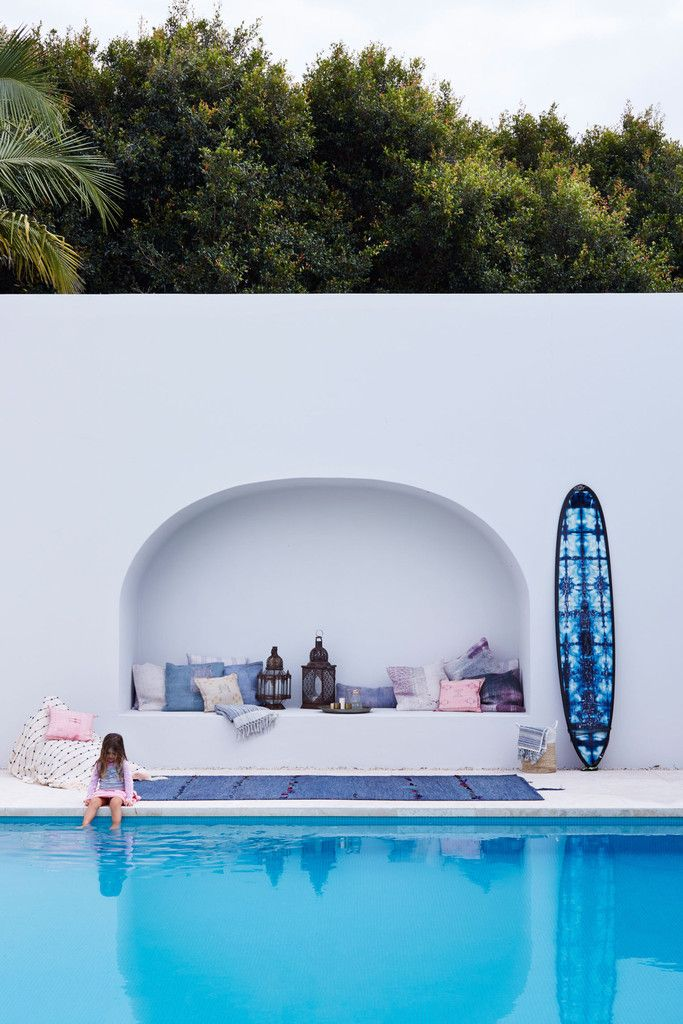 Tigmi Trading Moroccan + Turkish Rugs & Homewares in this amazing Mediterranean style pool setting ✨ tigmitrading.com