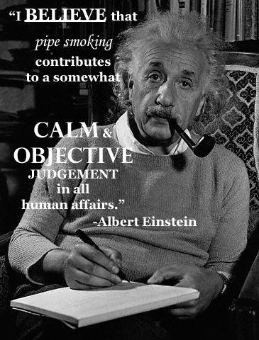 Albert Einstein - Smoking a tobacco pipe