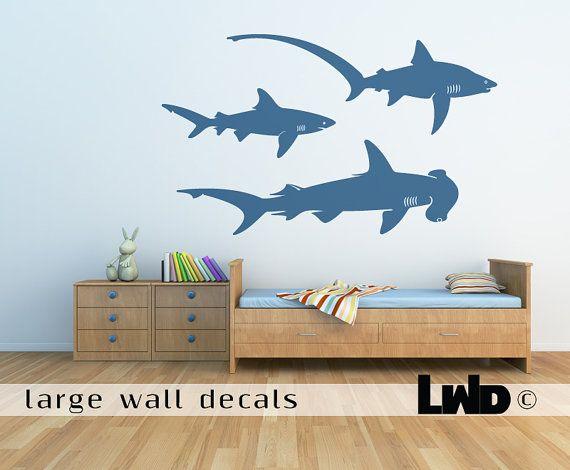 sharks wall decal children room sticker nursery wall decor baby kids rooms pinterest. Black Bedroom Furniture Sets. Home Design Ideas