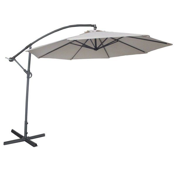 Abba Patio Deluxe Adjustable Offset Cantilever 10 Foot Patio Umbrella with Base and Crank