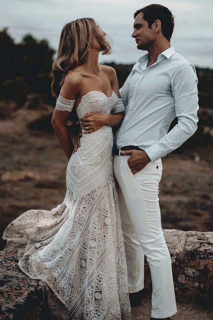 Unique Mermaid Off the Shoulder Straps Ivory Lace Beach Wedding Dress, Bridal Dresses PW829