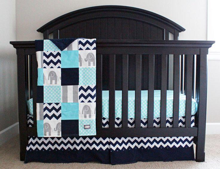 Aqua, Navy, Grey Baby Bedding, Custom Crib Bedding - Baby Boy Elephant Nursery Bedding by GiggleSixBaby on Etsy https://www.etsy.com/listing/211170946/aqua-navy-grey-baby-bedding-custom-crib