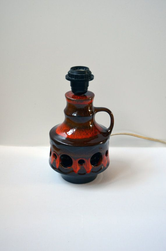 Fat lava ceramic lamp base with holes, brown and orange glazing, seventies design West Germany, midcentury