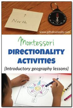 Montessori directionality activities: As an introduction to #geography, use these #Montessori directionality activities to teach kids about the cardinal directions (North, South, East, West) as well as how to use a compass. #handsonlearning || Gift of Curiosity