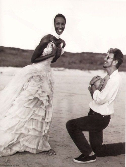80s-90s-supermodels:  Iman and David Bowie by Bruce Weber, 1995