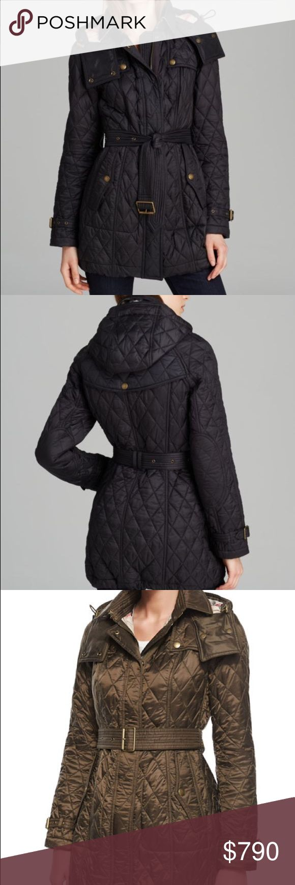 HPx4!Burberry Brit Finsbridge Long Quilted CoatNWT NWT! Burberry Brit Finsbridge Long Quilted Coat in brown  $795.00 at Bloomingdales. Polyamide; lining: polyester Dry clean Imported Point collar with hook closure, shoulder epaulets, long sleeves with buckle cuffs, conealed front zip with snap overlay Zip-off drawstring hood with snap closures, detachable fabric buckle belt, quilted silhouette, check lining at the collar and throughout Burberry Jackets & Coats
