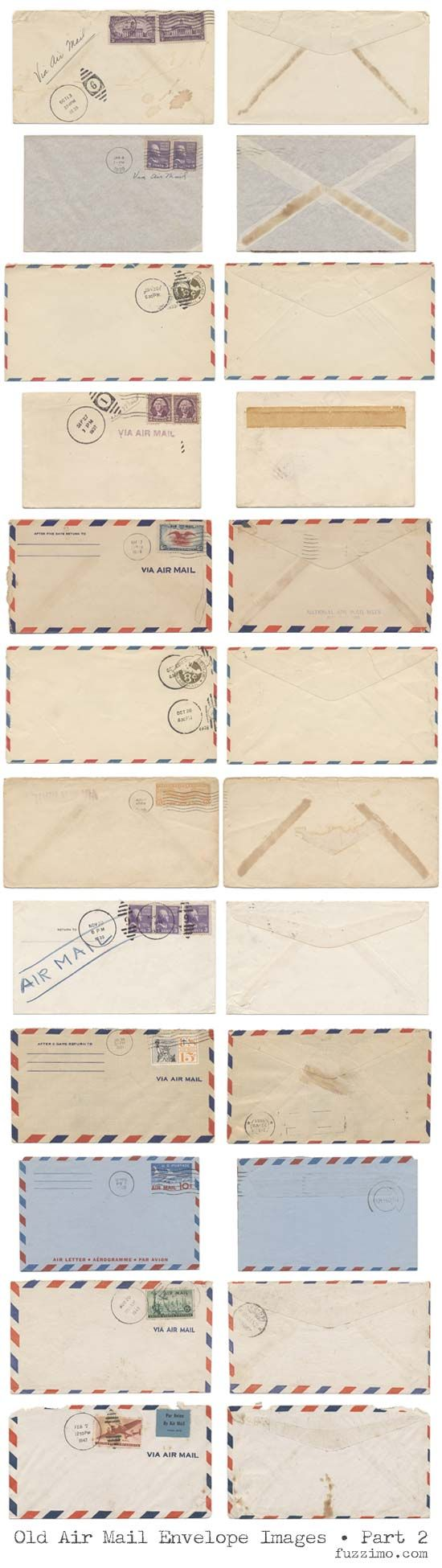 fuzzimo shares printable old airmail envelopes (there is a earlier part to the post with more as well.
