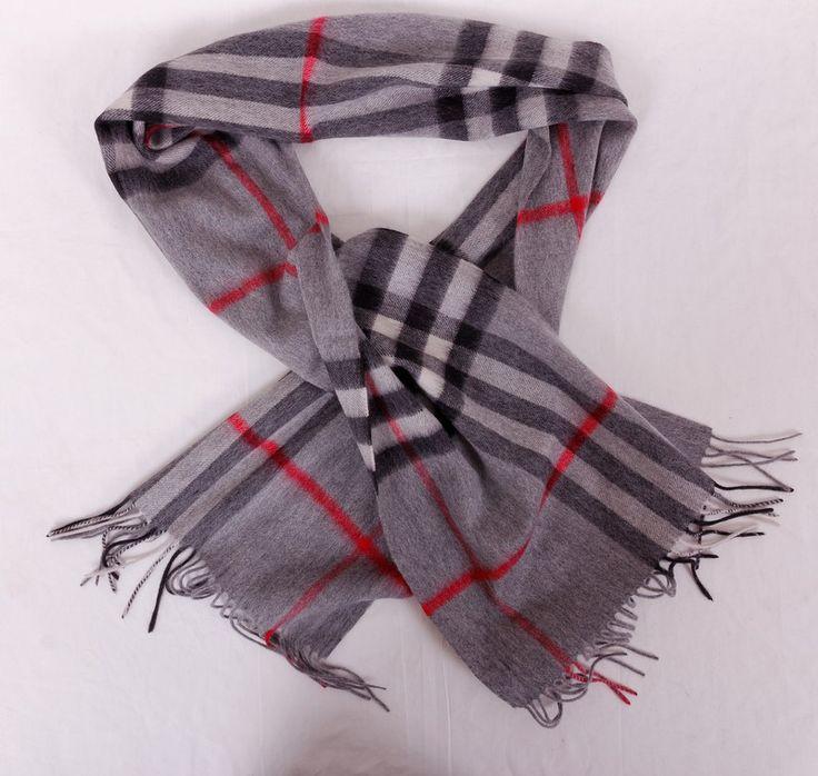 Длинный узкий шерстяной шарф Burberry в клетку, цвет серый