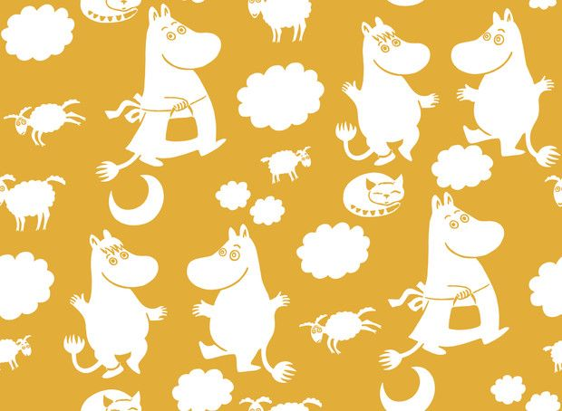 Moomin Retro Pattern - Yellow - Wall Mural & Photo Wallpaper - Photowall