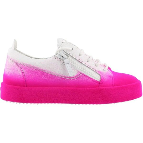 New Unfinished Sneakers (2,125 PEN) ❤ liked on Polyvore featuring shoes, sneakers, leather trainers, giuseppe zanotti, giuseppe zanotti trainers, real leather shoes and fuschia shoes