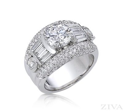 Unique Ring Setting with Baguette & Pave Diamonds