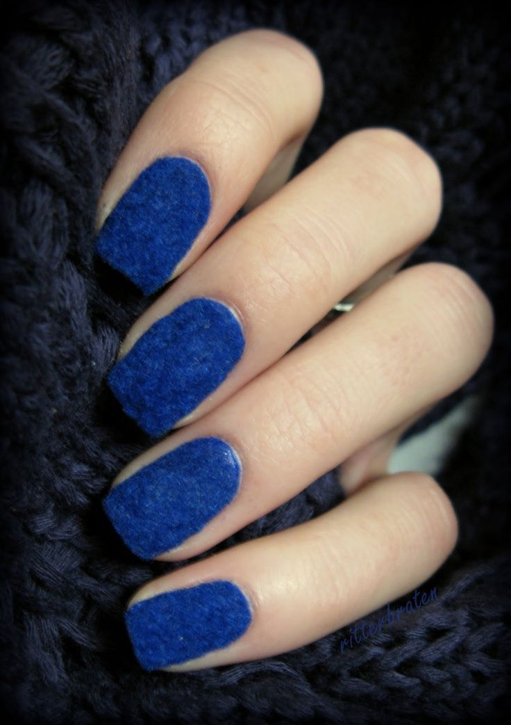 Deep Blue Velvet Nails