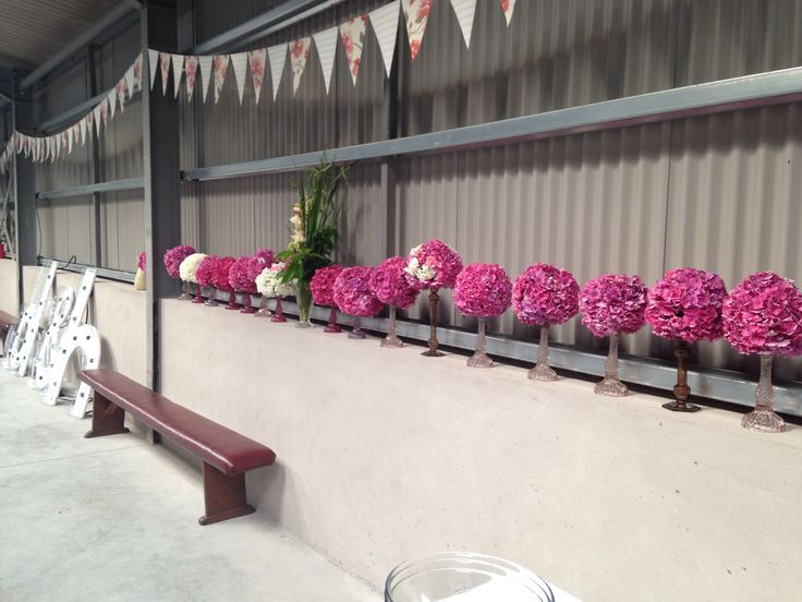Table centres all lined up and ready to go!