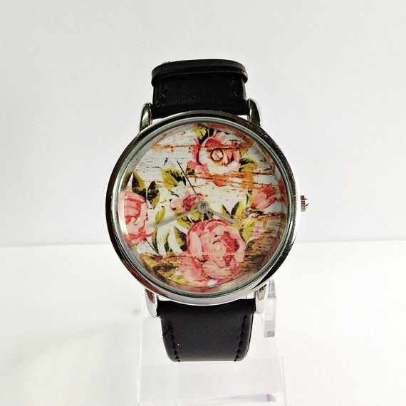 Floral on Wood Watch  Vintage Style Watch Shabby Chic by FreeForme, $10.00
