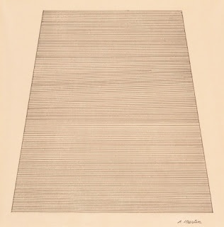 Agnes Martin (1912–2004, US), Mountain, 1960. Ink and pencil on paper, 24 x 30.2 cm. Museum of Modern Art, New York. © Estate of Agnes Martin / Artists Rights Society (ARS), New York. (MOMA-P1490mtars)