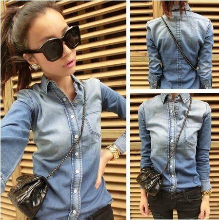 Дешевое 2014 весной мода женщин тонкий градиент цвета с длинным рукавом джинсовые рубашки женские джинсы блузка и пиджаки LSP8101 бесплатная доставка, Купить Качество Блузки и рубашки непосредственно из китайских фирмах-поставщиках: