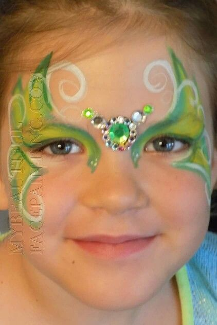 Tinkerbell style green face paint with bling by www.facebook.com/mybeautifulbling.