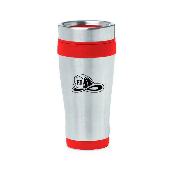 16 Oz Stainless Steel Insulated Travel Mug Coffee Tea Cup Firefighter... ($15) ❤ liked on Polyvore featuring home, kitchen & dining, drinkware, black, drink & barware, home & living, mugs, stainless mug, stainless steel travel mug and stainless travel mug