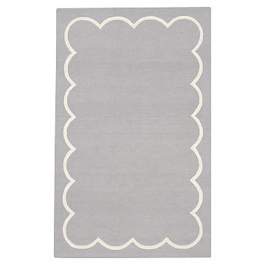Scallop Border Rug, 8x10, Gray