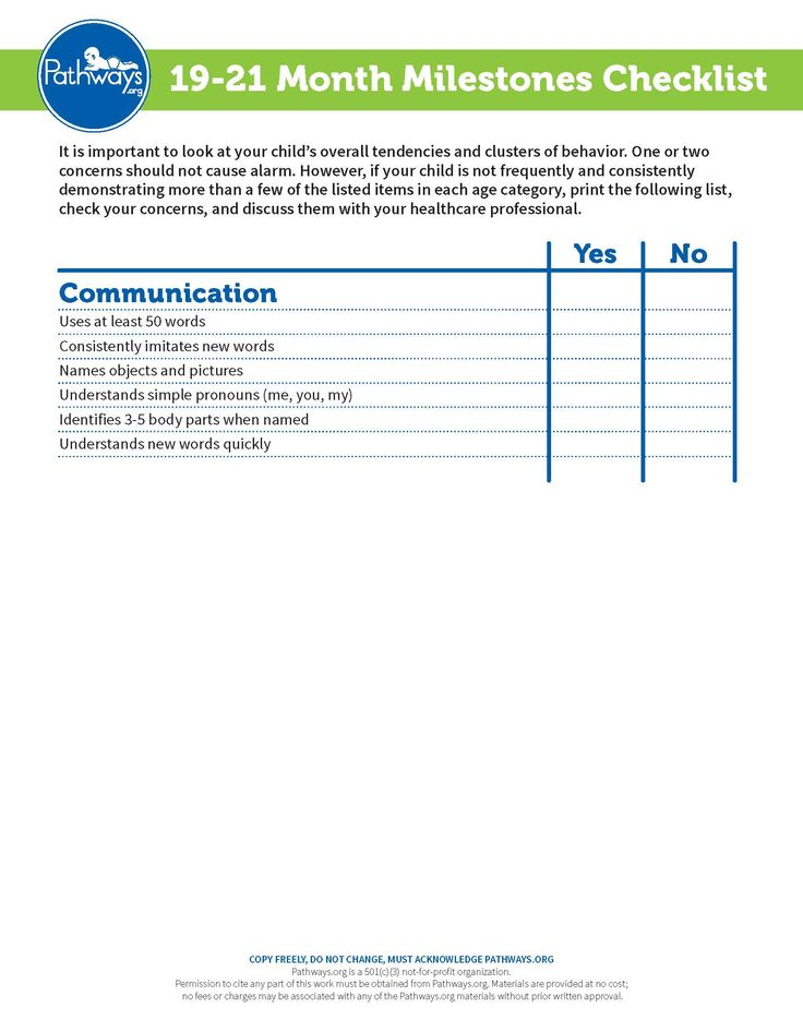 Track your child's communication milestones from 19-21 months. Keep track and bring this checklist to well baby visits.