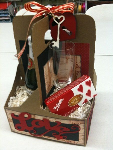 I re-purposed a drink carrier for a Valentine's Gift. Another Store workshop. This idea can be used for any occasion or theme.
