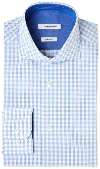 Isaac Mizrahi Blue & White Plaid Slim Fit Dress Shirt