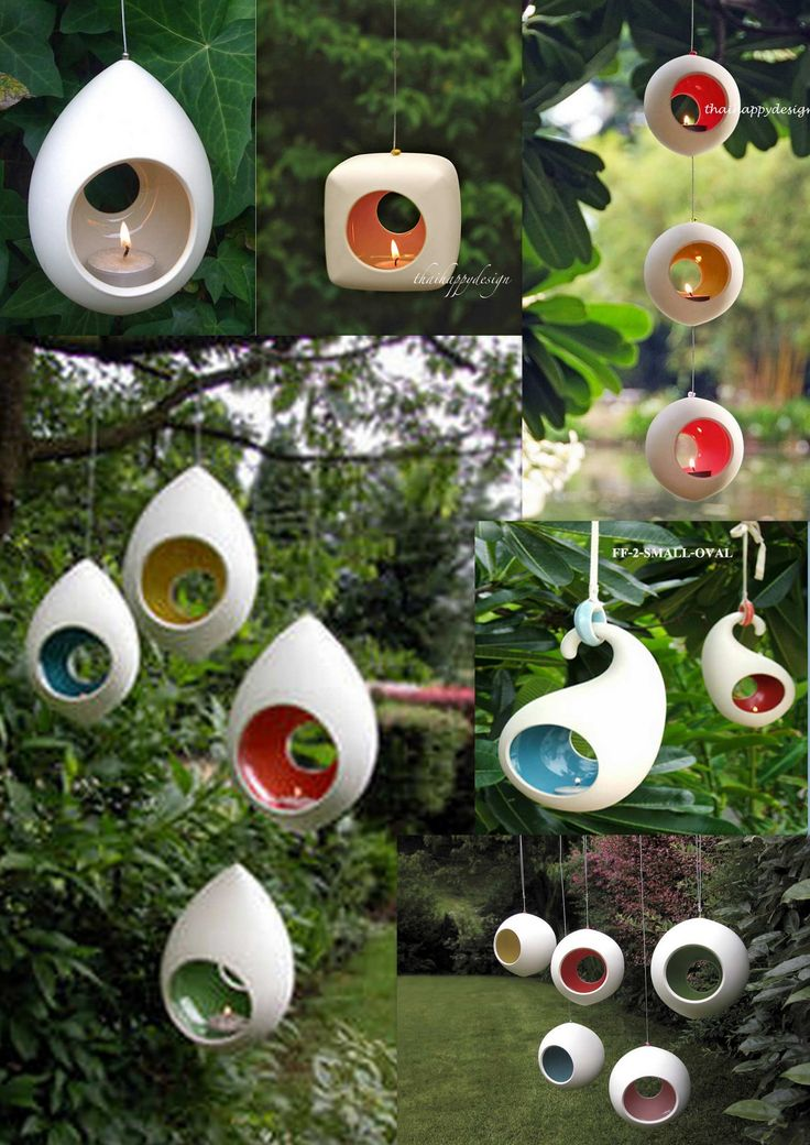 Hanging outdoor candle holders.  iKOU hanging pod, ceramic hanging pod, hanging candle holder oneforyouoneforme.com.au  Cheap ceramic lamp www.ceramiccandleholders.net  Round Garden Hanging Tea Lights from Stylish Life Ltd www.stylishlife.co.uk   Lovely Things: Ceramic hanging tealight holder lovelythings.typepad.co.uk