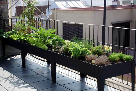 The Small Space Raised Garden /// To me this is great because it takes up just a section of the porch/patio but allows a lot of space to garden. Lovely idea.