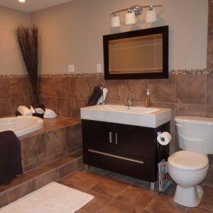 Decorate Bathroom Brown Tile