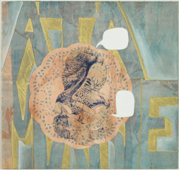 Vanessa Edwards, Early Bird gets the Worm, etching and monoprint on 340 x 355 mm paper, 1 of 1, 2010. Sold.