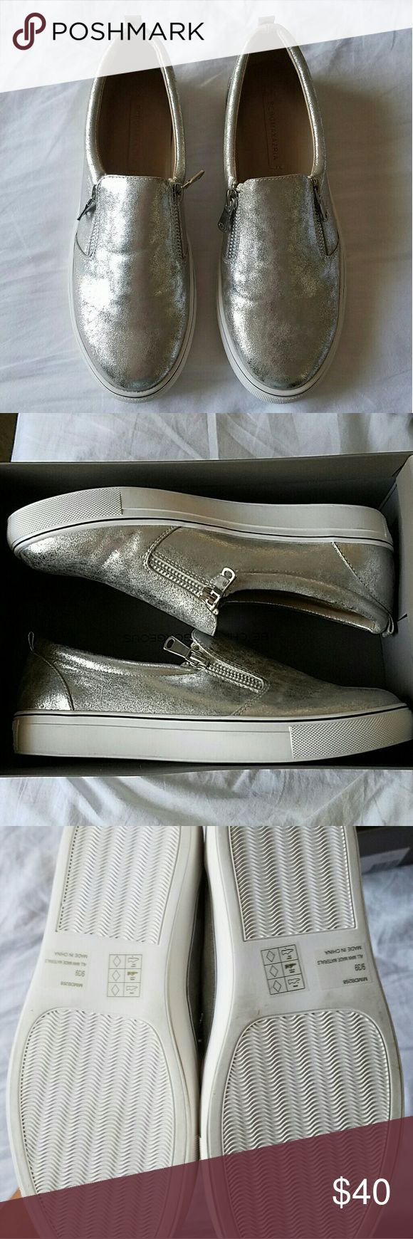 BCBGMAXAZRIA Fashion Sneakers Brand new never worn, and in the box. The right shoe has a little discoloration on the sole due to being the display. Perfect other than that! The outside zipper slides to make it easy to put on. BCBGMaxAzria Shoes Sneakers