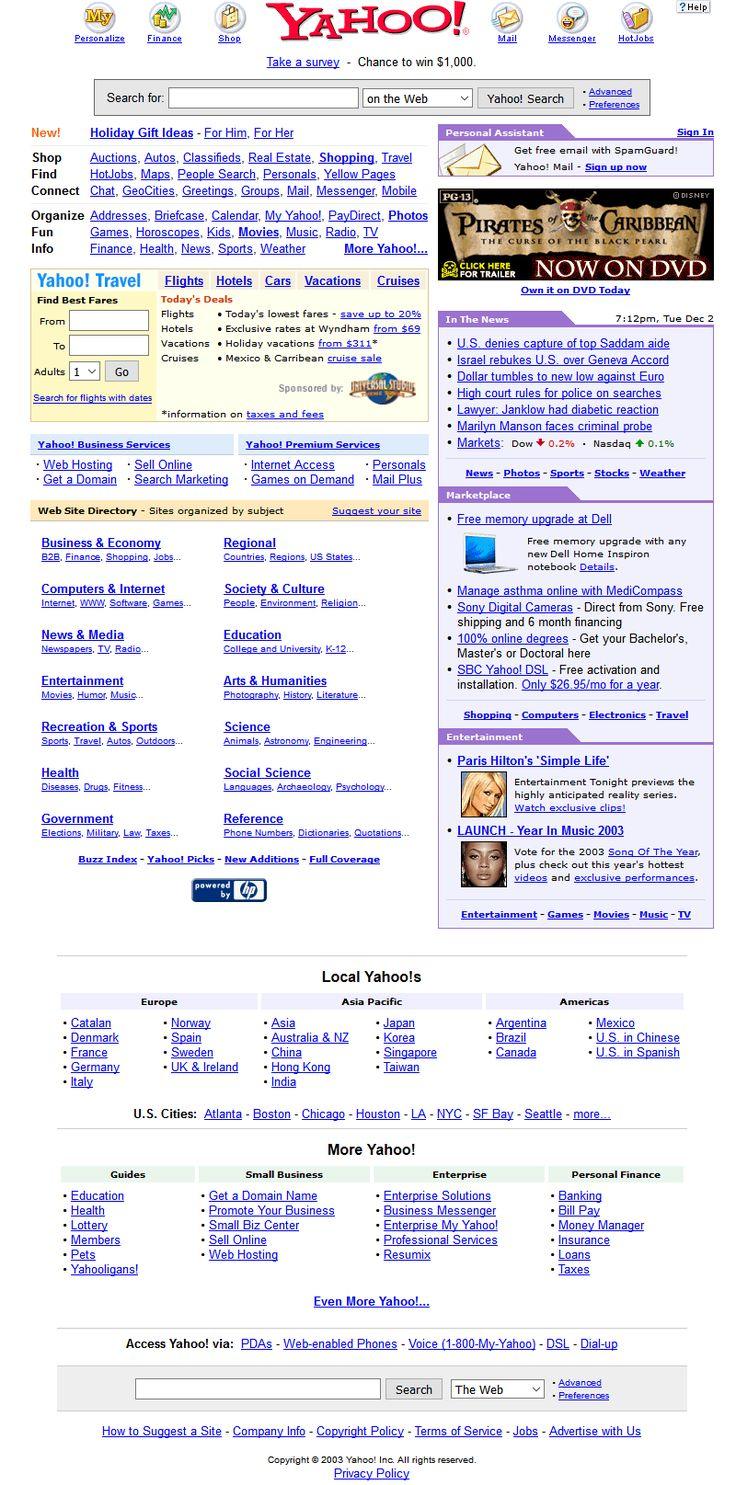Yahoo website in 2003