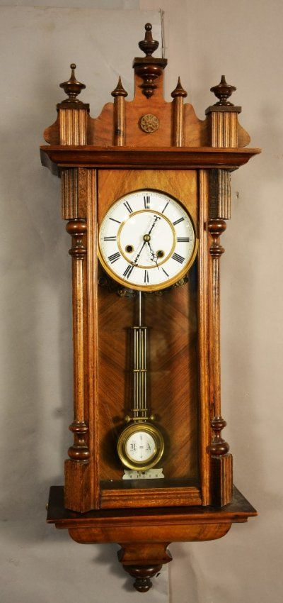 Vienna R.A. Regulator clock with porcelain dial. Time and Strike. Possible Lenzkirch. Movement not signed. ca. 1865