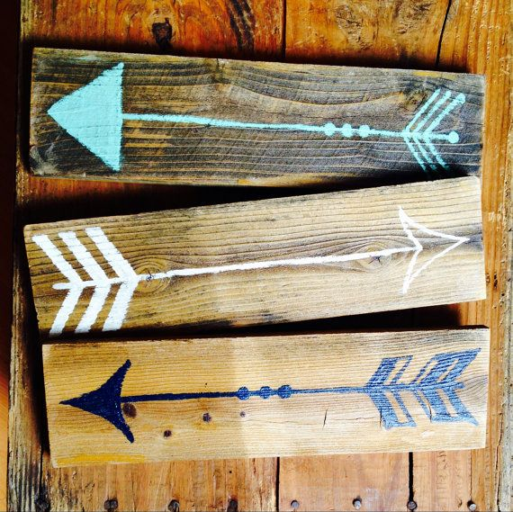 Wood Arrow Sign Set / Funky Signs / Arrow Wall Art / Bohemian Decor / Boho Chic…
