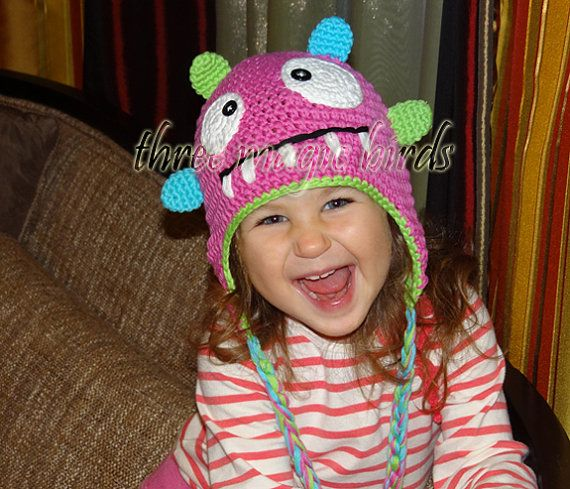 Crochet PINK Girl Monster Hat Animal Baby Girl by ThreeMagicBirds, $14.99