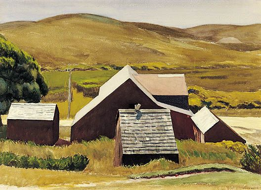 Edward Hopper, Roofs of the Cobb Barn  Watercolor, 1931