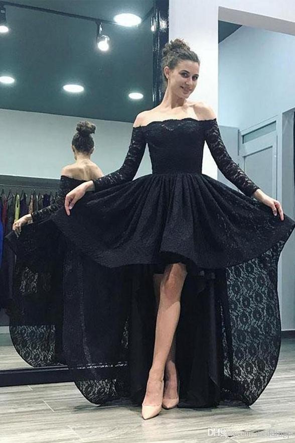 Off the Shoulder Long Sleeves Black Lace Hi-Lo Fancy Prom Dresses Formal  Evening Grad Dress LD1789 e90a335d52f4
