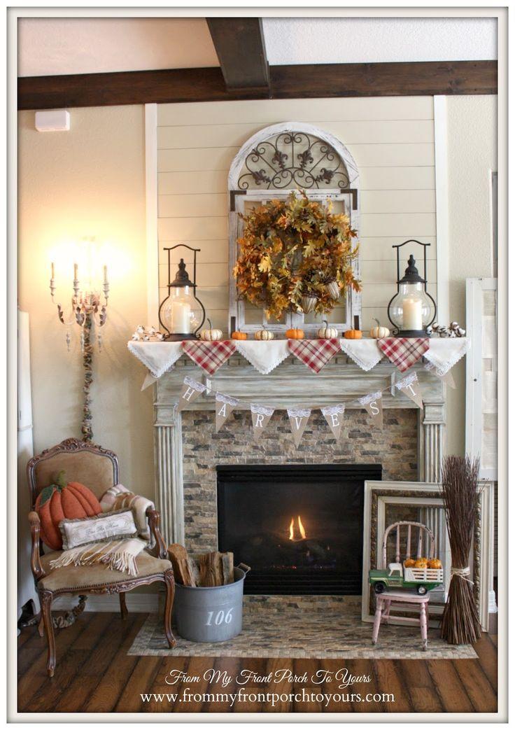 Fall Mantel 2015 Farmhouse Style  fall  Fall Home Decor Farmhouse style Backyard fireplace