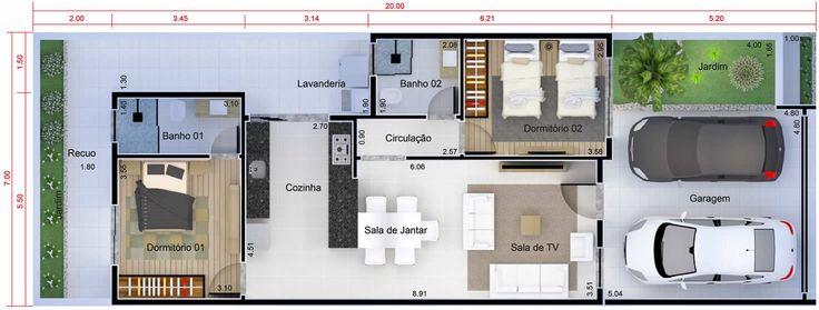 Planta de casa de baixo custo planta para terreno 7x20 for Casa moderna 7x20