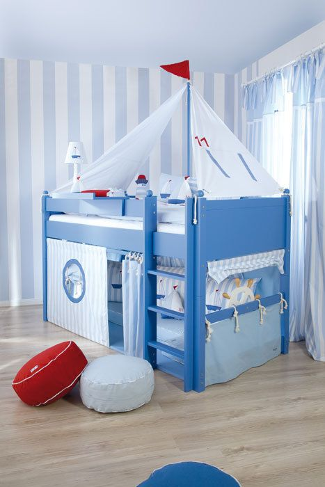 Fantasy Boys Bed/ Sailboat Cabin Bed / Designer Mid Sleeper Beds