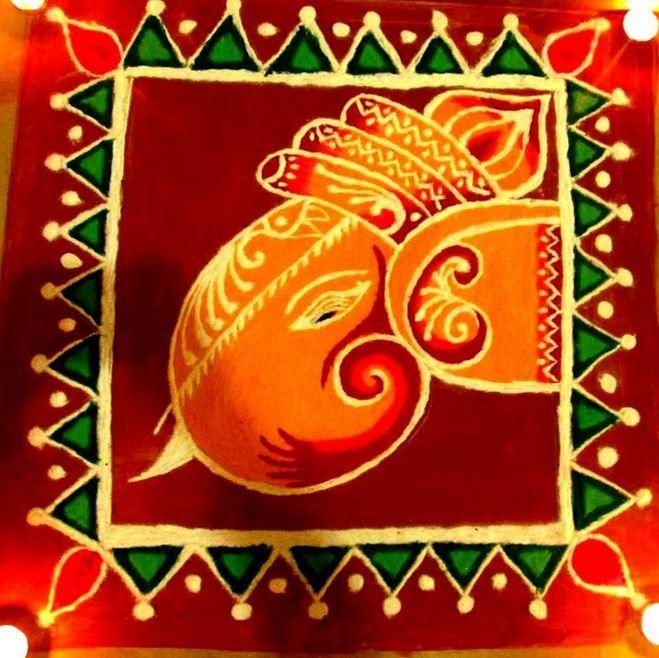 Ganpati Rangoli Designs for Diwali