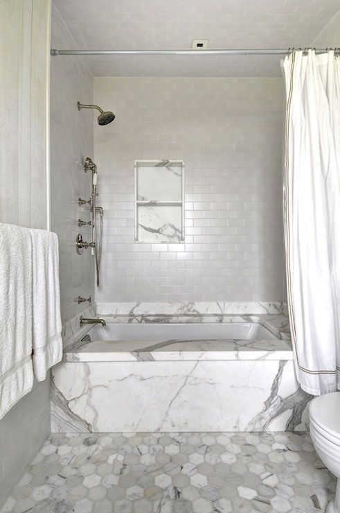 Inn At The Little Pond   Gorgeous Shower Features Drop In Tub With Mini  Beveled Subway Tile Shower Surround And Tiled Shower Niche As Well As  Vintage ...