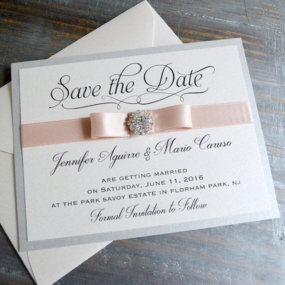 BOW Save The Date  Silver and Blush Save the by PaperLaceBoutique